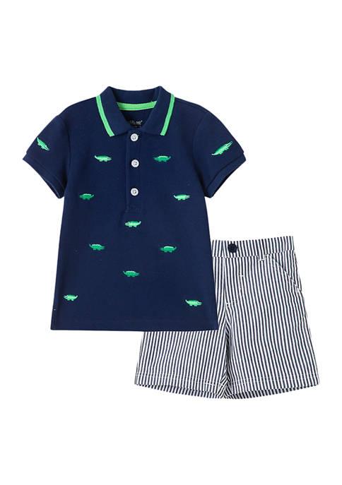 Little Me Baby Boys Gator Polo Shorts Set