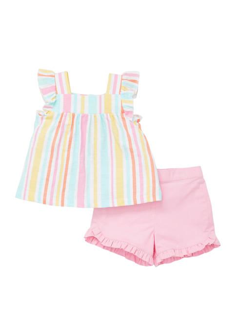 Little Me Baby Girls Multi Stripe Woven Play
