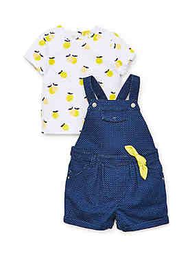 4281ed3c7d72 Little Me Baby Girls Lemon Shortall Set ...