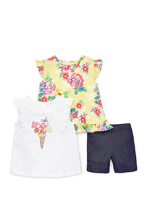 Little Me Baby Girls Floral 3 Piece Play