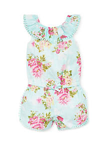 c306b7b12b3a ... Little Me Baby Girls Floral Woven Romper