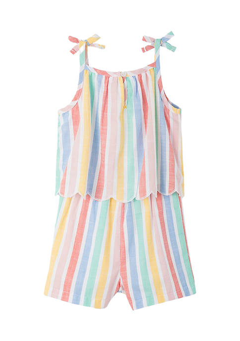 Little Me Baby Girls Multi Stripe Woven Romper