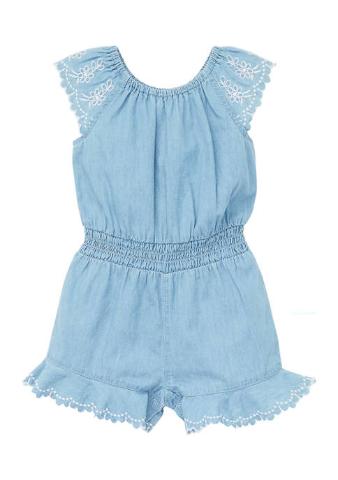 Little Me Baby Girls Chambray Woven Romper