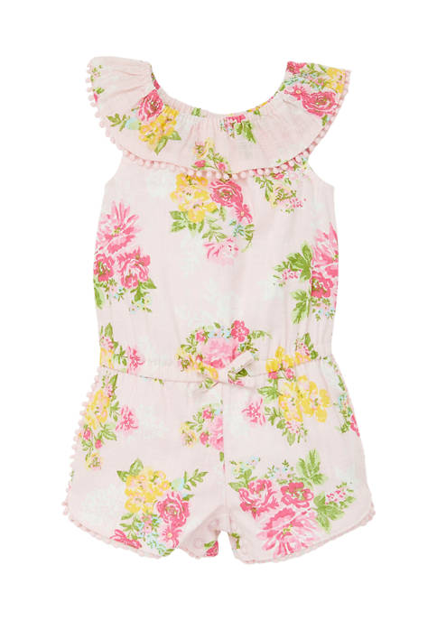 Little Me Baby Girls Floral Woven Romper