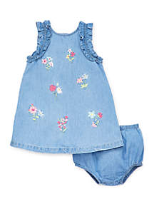 Little Me Baby Girls Chambray Embroidery Sundress