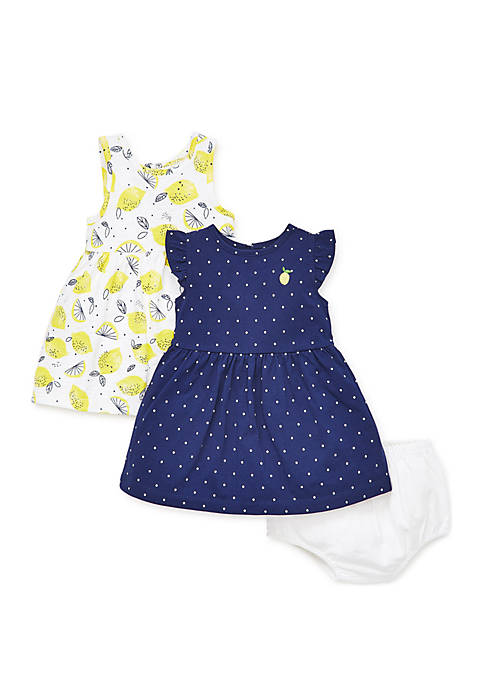 Little Me Baby Girls Lemon Knit Dress Set