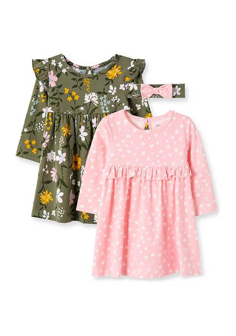 Baby Girls Multi Floral Knit Dress Set
