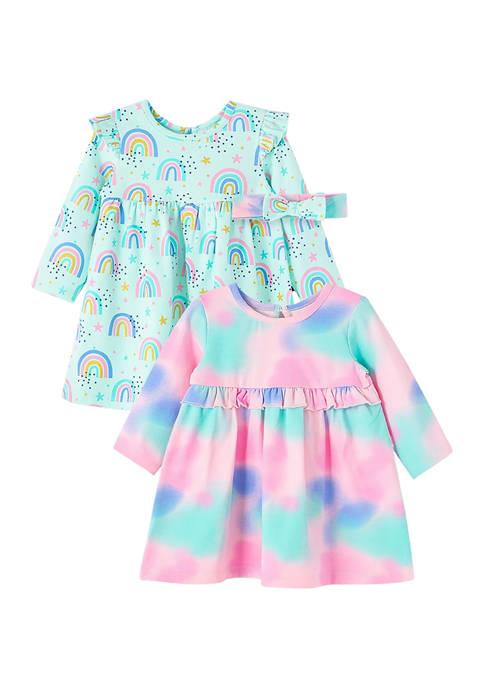 Baby Girls Rainbow Knit Dress Set
