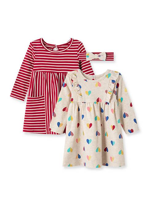 Little Me Baby Girls Heart Knit Dress Set