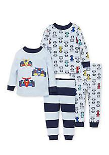 Boys Infant Race 4-Piece Cotton Pajamas
