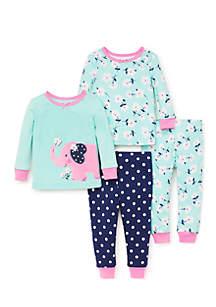 Baby Girls Elephant Cotton Pajama Set