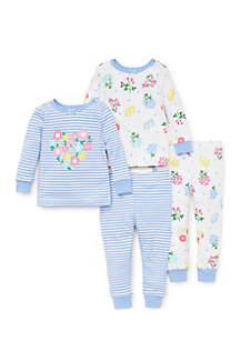 Baby Girls Floral Cotton Pajama Set
