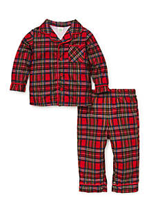 Infant Boys 2-Piece Red Plaid Pajama Set