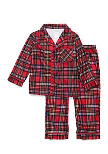 Toddler Boys Plaid Coat Pajama Set