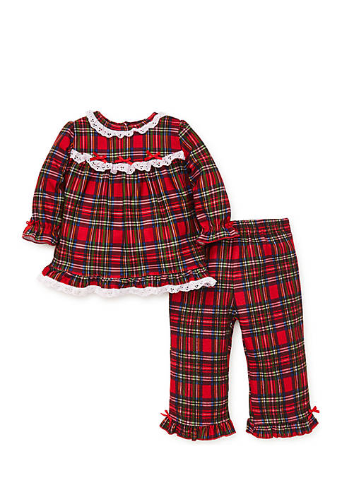 Little Me Girls Infant Christmas Plaid 2-Piece Poly