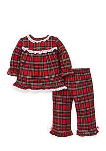 Girls Infant Christmas Plaid 2-Piece Poly Pajamas