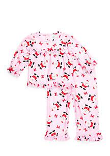 Toddler Girls 2-Piece Santa PJs Set