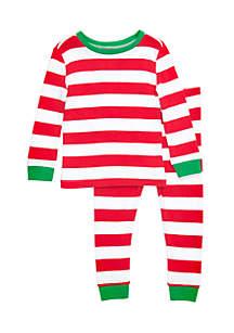 Toddler Girls Stripe Red Pajama Set