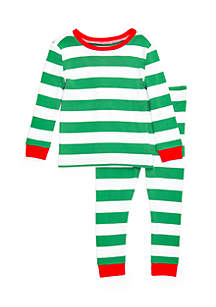 Toddler Girls Stripe Green Pajama Set