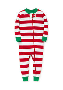 Infant Girls Red and White Stripe Pajamas