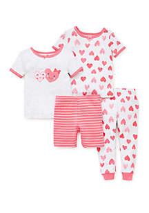 Little Me Toddler Girls 4 Piece Cotton Pajama Set