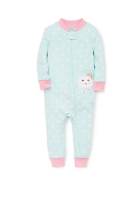Baby Girls Clouds Zip Front Pajamas