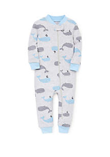 Little Me Baby Boys Whale Zip Front Pajamas