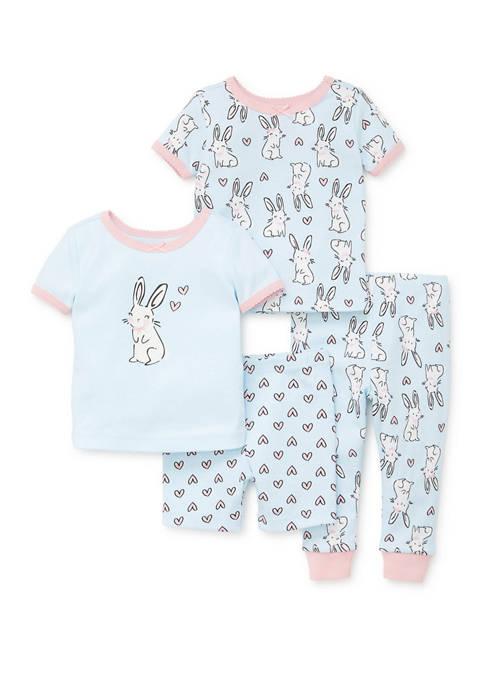 Little Me Toddler Girls 4 Piece Bunny Pajamas