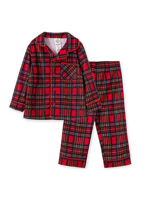 Little Me Toddler Boys Plaid Coat Pajama Set