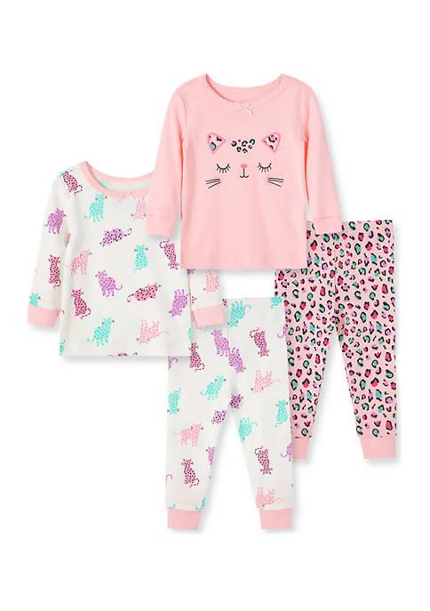 Baby Girls Leopard 4-Piece Pajama Set