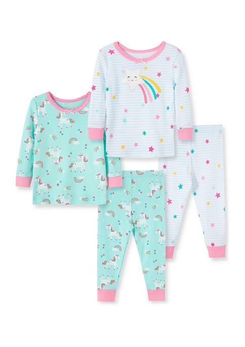 Baby Girls Celestial 4-Piece Pajama Set