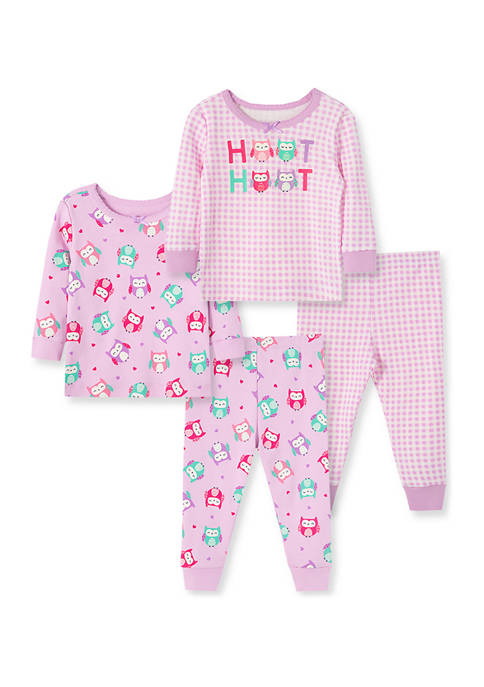 Little Me Baby Girls Owl 4-Piece Pajama Set