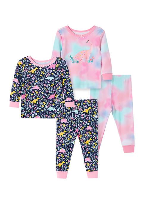 Baby Girls Dino 4 Piece Pajama Set