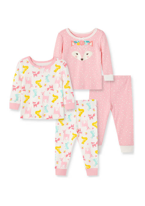 Little Me Baby Girls Woodland 4-Piece Pajama Set