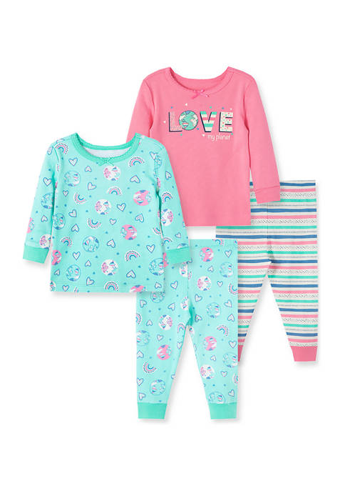 Little Me Baby Girls Planet 4 Piece Pajama