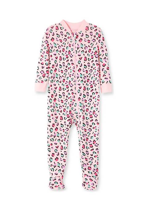 Baby Girls Leopard Zip Front Sleeper