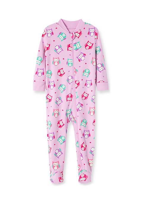 Little Me Baby Girls Owl Zip Front Sleeper