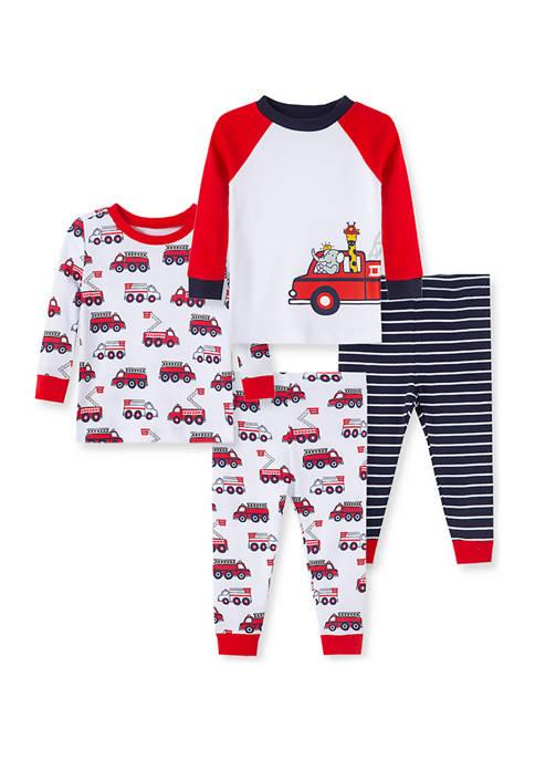Little Me Baby Boys Firetruck 4 Piece Pajama