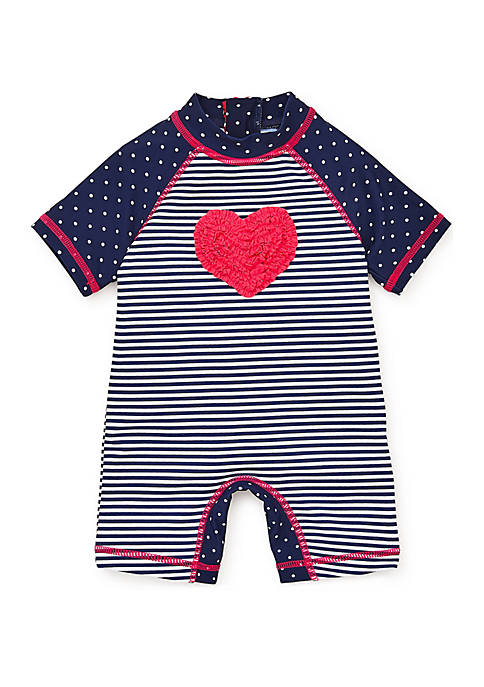 Little Me Baby Girls Heart Rashguard Suit