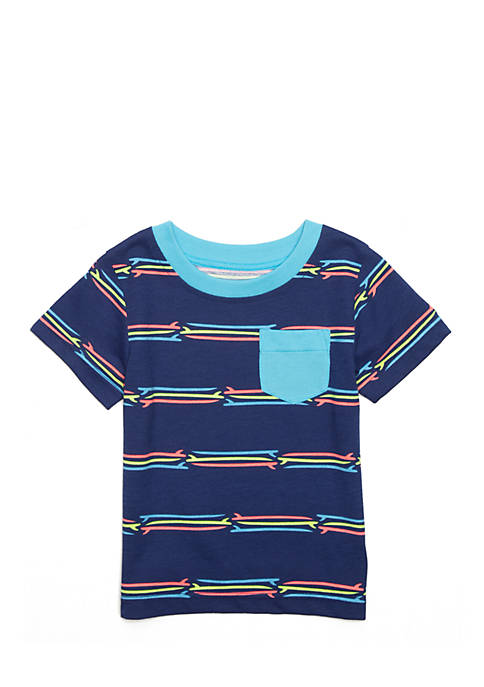 Nursery Rhyme® Short Sleeve Striped Pocket Tee Shirt