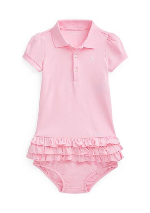 Baby Girls Ruffled Polo Dress & Bloomer Set