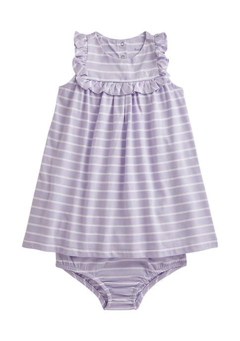 Baby Girls Striped Cotton Dress & Bloomer Set