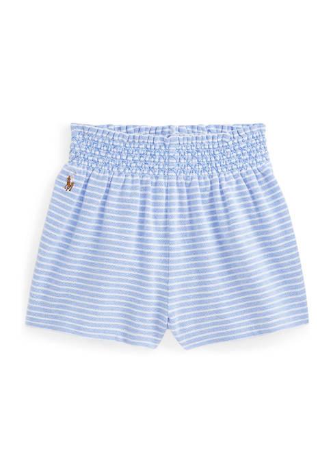 Baby Girls Striped Oxford Mesh Shorts