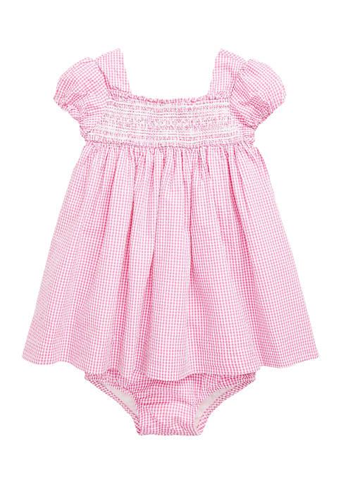 Ralph Lauren Childrenswear Baby Girls Gingham Cotton Seersucker