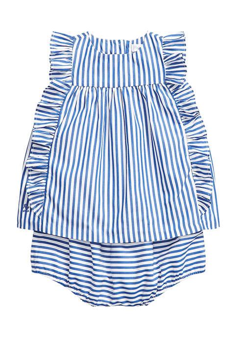 Baby Girls Striped Top & Bloomer Set