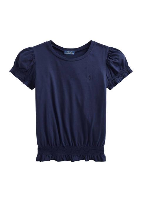 Toddler Girls Shirred Cotton Jersey Top
