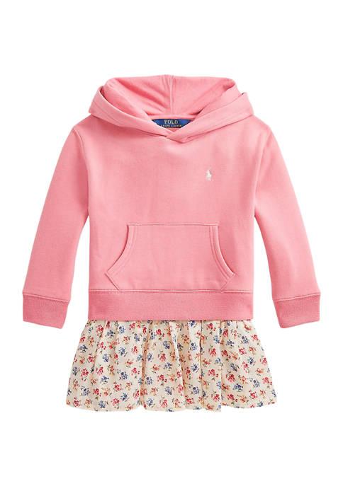 Toddler Girls Floral Fleece Hoodie Dress