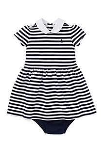 Infant Girls Striped Ponte Dress & Bloomers