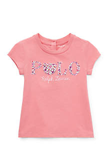 Infant Girls Floral Polo Jersey T-Shirt