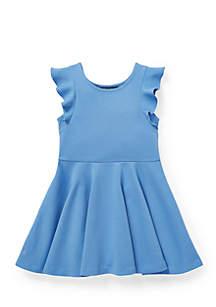 Toddler Girls Ruffled Ponte Dress